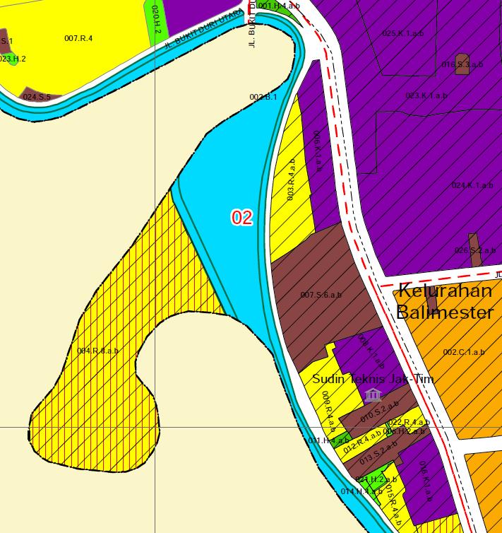 Gambar 3. Rencana zonasi Kampung Pulo (bukan bagian dari normalisasi sungai). Daerah biru bernomor 02 adalah sub zona terbuka biru yang kemungkinan menjadi sodetan/waduk. Saat ini, tempat yang sama merupakan area yang padat penduduk. Sumber, Sosialisasi Rencana Detail Tata Ruang DKI Jakarta. Klik gambar untuk menuju sumber.
